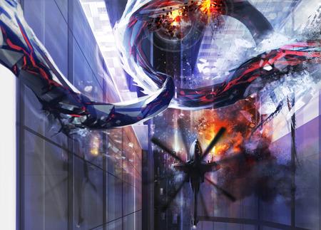elimination: Alien city destruction. Upper helicopter city view with an alien destructing a buildings.