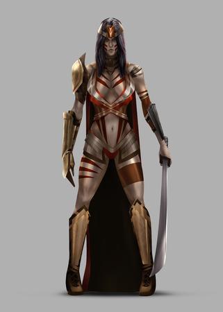 Amazon Queen. Amazon koningin staan in harnas en zwaard.