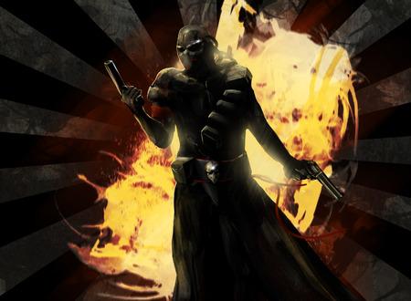 fantasy warrior: Assassin. Armed assassin warrior posing with guns.