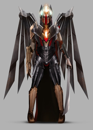 black male: Angel warrior. Angel warrior queen standing in armor with mechanical wings and holding a sword.