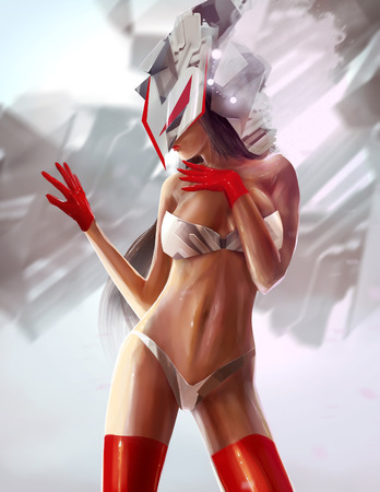 robot girl: Robot girl. Sci fi cyber woman with red gloves posing illustration. Stock Photo