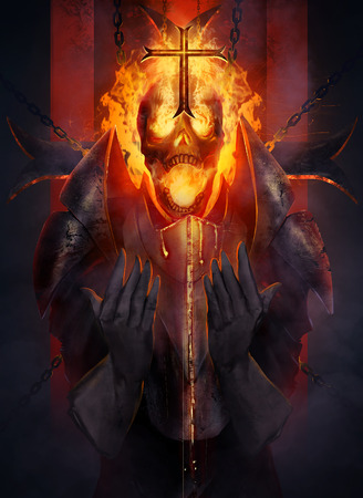 Skeleton knight. Skeleton fire head knight praying the cross illustration. Stock Photo