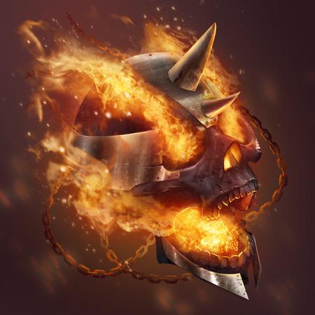 Fire skull. Fantasy metal plate helmet skull with chains in fire illustration.