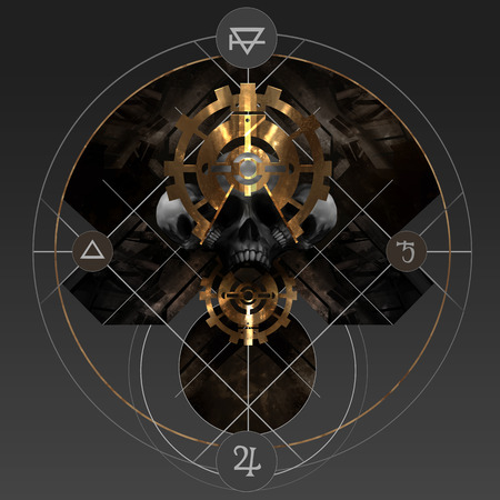 Alchemy gold. Abstract alchemy golden pentacle sign with skull and ancient signs. Stock Photo