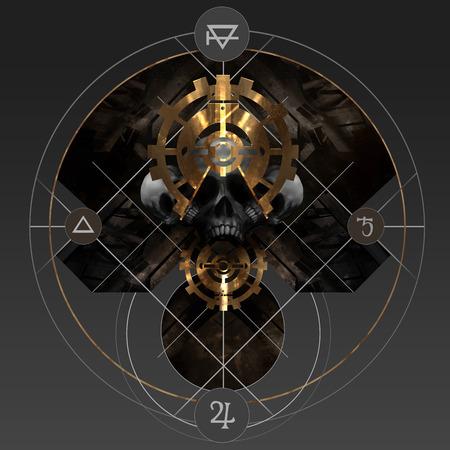 pentacle: Oro Alchemy. Estratto alchimia pentacolo d'oro segno con teschio e antichi segni.