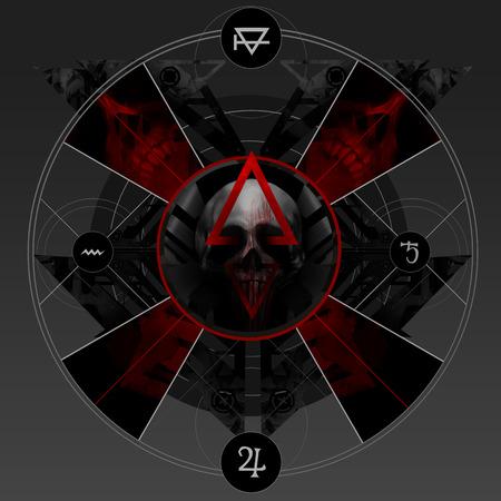 talismán: Sangre Alquimia. Resumen alquimia sangriento signo pentáculo con el cráneo, cruz y signos antiguos. Foto de archivo