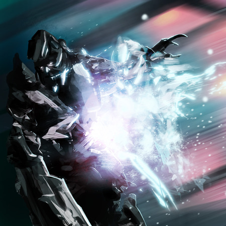 mech: Robot soul. Futuristic robot warrior with electric soul falling art illustration.