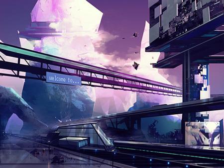 Futuristische stad. Abstracte getrokken futuristische scifi fantasie stadsbeeld en het station met heuvels kunst illustratie.