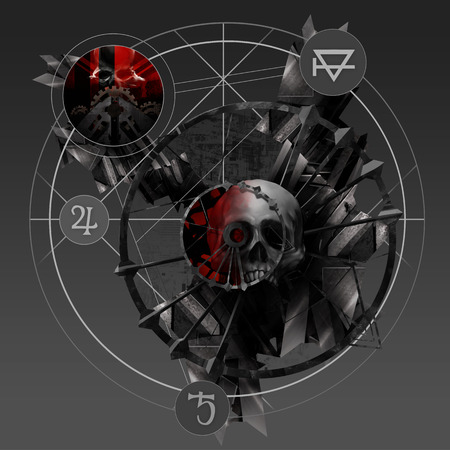 pentacle: Alchemy skull. Abstract sign with metal parts and skulls pentacle art illustration. Stock Photo