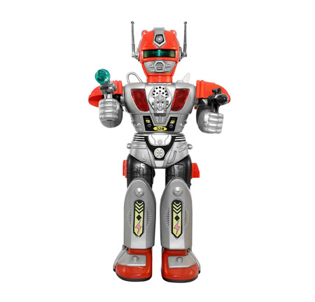 robot toy: Silver toy robot. Isolated armored plastic silver red toy robot with guns front view. Stock Photo