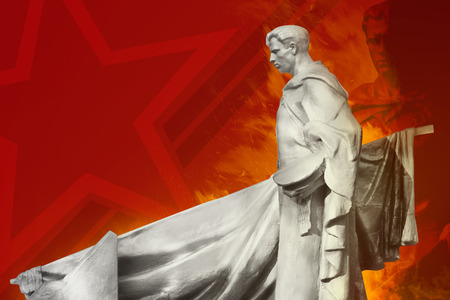 soviet: Soviet soldier monument. Soviet soldier monument with red illustrated background.