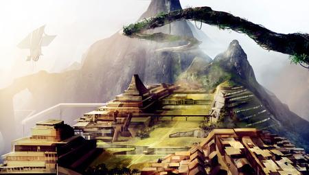 sci: Ancient civilization art. Ancient civilization scifi art illustration with space ships.
