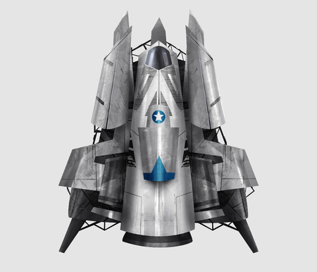 science fiction: Spaceship illustration. Isolated futuristic fantasy steel spaceship illustration art.