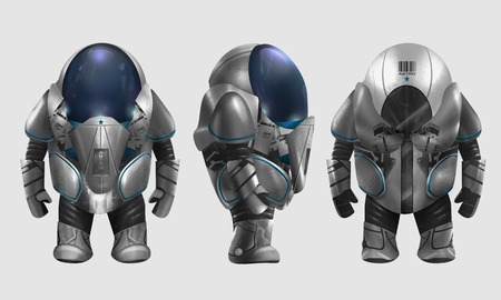 armored: Spaceman illustration. Isolated spaceman in grey armored suit character standing in different angles illustration art.