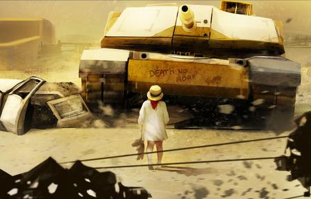 no war: Little girl and tank. Little girl in hat walking towards moving tank illustration.