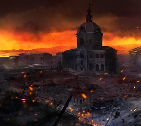 Arte campo de guerra. Ilustrado escena post batalla con tanques, la iglesia y la tumba cruza obra fondo.