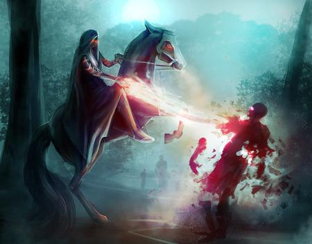 Fantasia cavaleiro feitiçaria. Cavaleiro da fantasia em uma capa lutando zumbis em madeiras escuras com feitiçaria e magia.