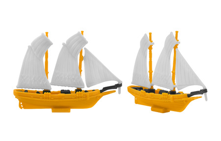 angles: Ship toy. Isolated ancient ship toy with yellow deck photo in different angles.