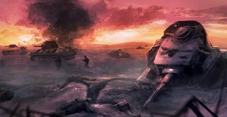 Tank war battle scene. World war 2 tank battle scene on a field with dead soldiers and destruction illustration.