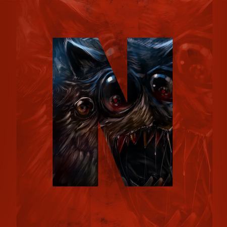 monster face: Monster letter N. Letter sign with horrible and evil monster face on red background illustration art.