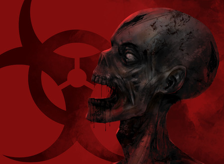 Zombie face closeup. Fantasy dead zombie face staring at the chemical danger sign on red background illustration art. Banque d'images