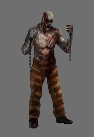 Zombie prisoner. Fantasy dead mutilated zombie prisoner standing with chains and pants illustration. illustration