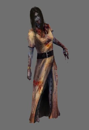 Lady zombie. Fantasy dead lady zombie in bloody yellow dress standing illustration art.