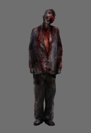 dead man: Zombie man.Fantasy dead mutilated zombie male standing in a bloody suit illustration art.