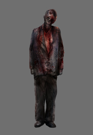 Zombie man.Fantasy dead mutilated zombie male standing in a bloody suit illustration art.
