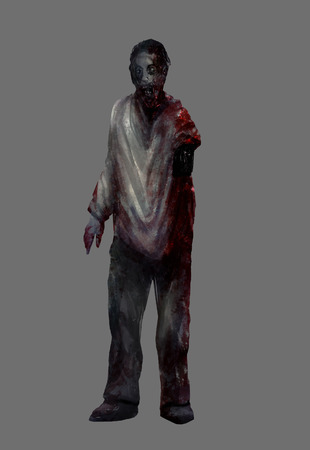 gore: Zombie human. Fantasy dead mutilated zombie man standing in a bloody shirt illustration art.