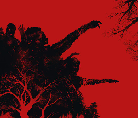 male hand: Zombies illustration. Fantasy dead zombies attack on red background illustration art. Stock Photo