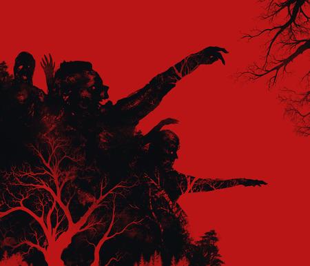 diavoli: Zombies illustrazione. Fantasy zombie morti attacco su sfondo rosso illustrazione arte.