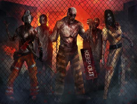 Zombies Wandelen Stockfoto