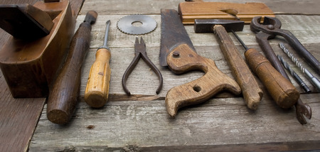 plier: Old hand tools in a row. Stock Photo