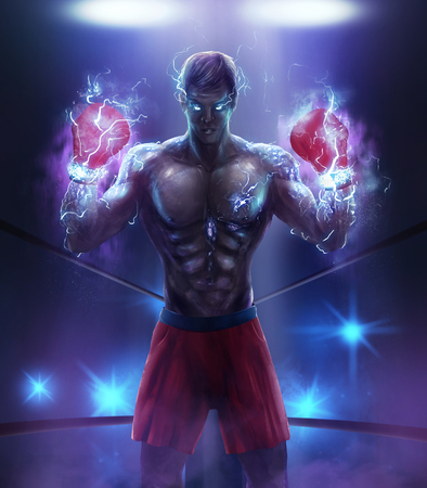 Angry boxer warrior. Angry fantasy athlete boxer illustration with lightning effect energy boxing gloves  red shorts. Stock Photo