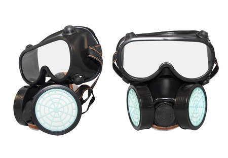 white mask: Rubber dust mask. Isolated black rubber dust mask with air filters profile and front view on white background. Stock Photo