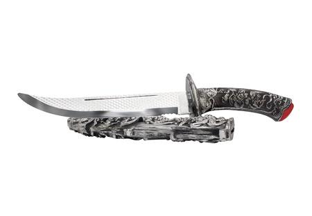 scheide: Isolierte geöffnet Messer und Scheide. Isoliert geöffnet alte Fantasie geätzt Messer und Scheide auf weißem Hintergrund. Lizenzfreie Bilder
