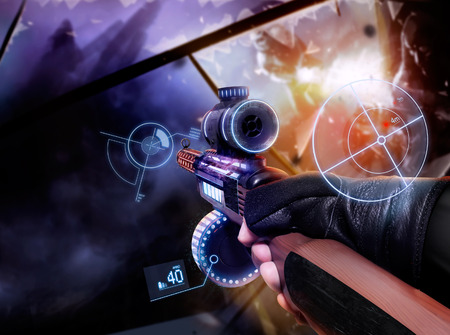 first sight: Hand in gloves holding machine-gun. First person view hand in black leather gloves holding a futuristic neon fantasy automatic machinegun with neon indicators and pointers. Stock Photo