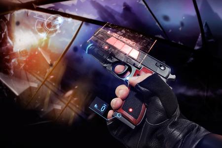 Mano en los guantes que sostienen un arma de fuego recarga. Vista en primera persona en la mano guantes de cuero negro que llevan a cabo una fantasía de neón futurista recargar arma de fuego con rojo de neón y los indicadores azules.