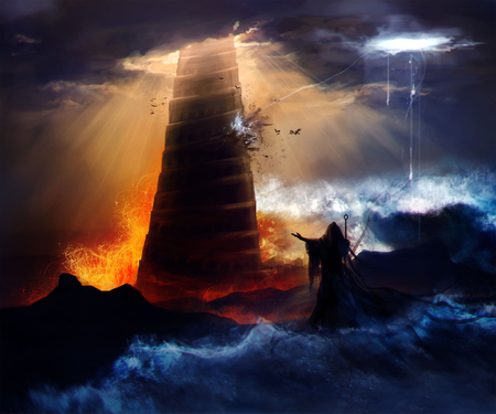 The fall of the Babylon. Sorcerer in hood standing in front of an ancient destructed Babylon tower with flood, fire  hurricane illustration.