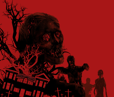 Zombies on red. Zombies walking on a red background with old house, cemetery  black tree illustration. Stok Fotoğraf