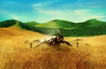 grain fields: Wheat field with robot. Wheat field with a broken futuristic robot lying illustration.