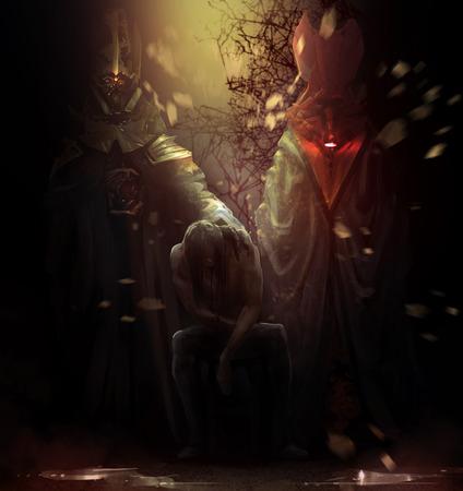 Bezeten man met demonen. Bezeten man zittend op een stoel met hoge karmozijnrode en gouden demonen achter hem illustratie.