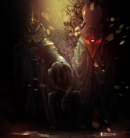 horror: Possessed man with demons. Possessed man sitting on a chair with tall crimson and golden demons behind him illustration.