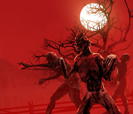 Zombies walking. Zombies walking on a red crimson background with full moon, black tree  old house in fog.