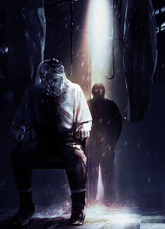 character assassination: Assassin and victim. Silent assassin standing in shadows with his victim tied to a chair illustration.