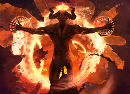 Flame demon. Burning diabolic demon summons evil forces and opens hell portal with ancient alchemy signs illustration. Фото со стока