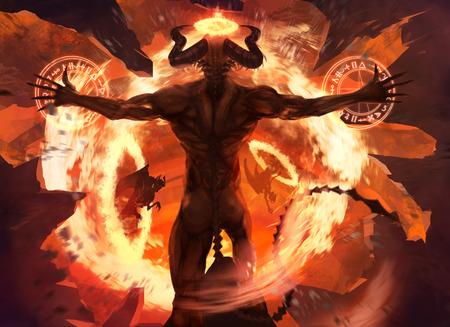 teufel und engel: Flammen-Dämon. Brennende teuflische Dämonen beschwört böse Kräfte und öffnet die Hölle Portal mit alten Alchemie Zeichen Illustration.