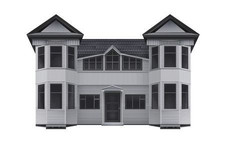 front of house: Wooden house illustration. Isolated front view drawn wooden house design illustration. Stock Photo