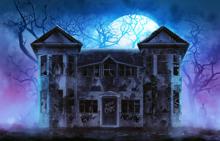 spooky: Haunted horror house. Old wooden grungy dark evil haunted house with evil spirits with full moon cold fog atmosphere and trees illustration.